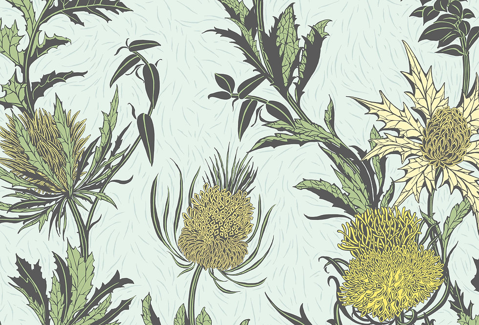 Cole & Son - Botanica Thistle Lemon & Olive on Duck Egg 115/14042