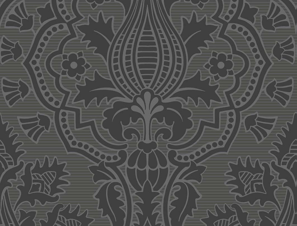 Cole & Son - The P/wood Coll Pugin Palace Flock Charcoal 116/9035