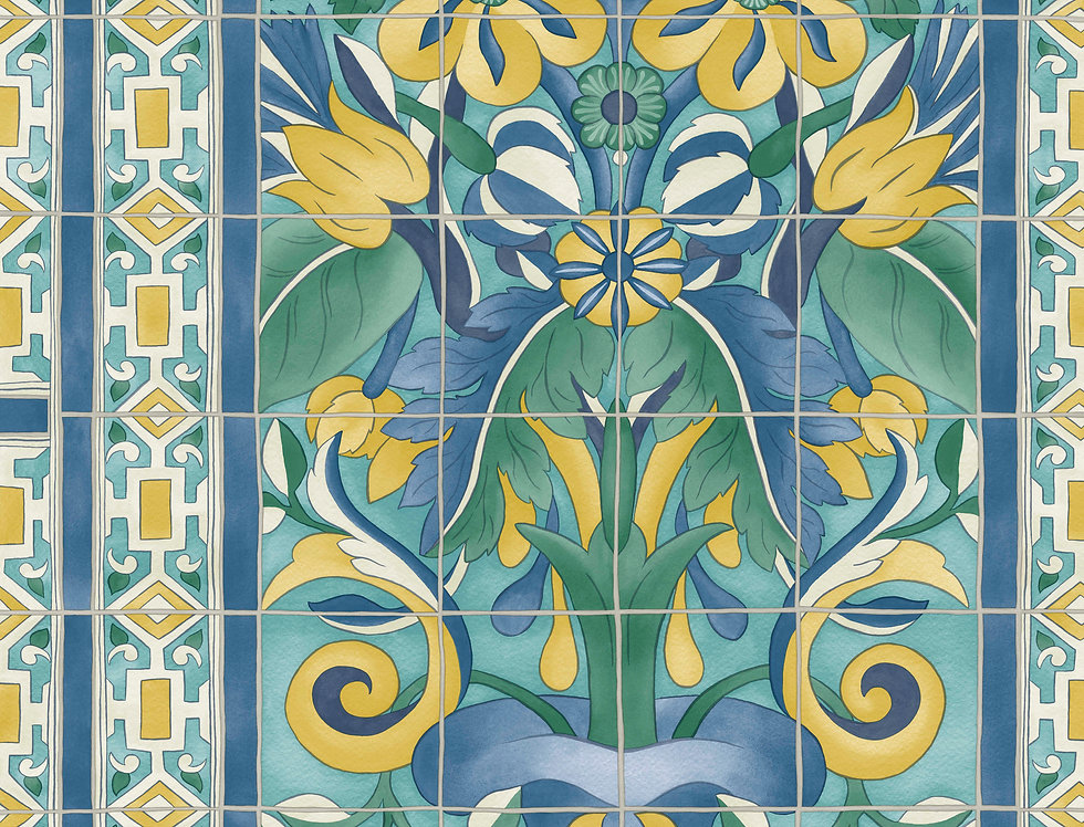 Cole & Son - Seville Triana Canary Yellow & China Blue on Teal 117/5013