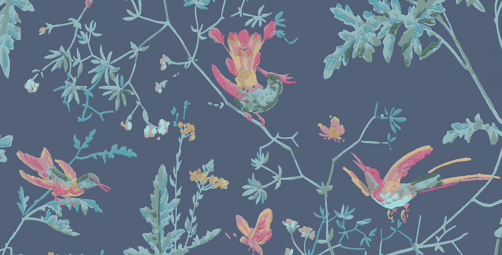 Cole & Son - Archive Anthology Hummingbirds Indigo Multi-Colour 100/14068