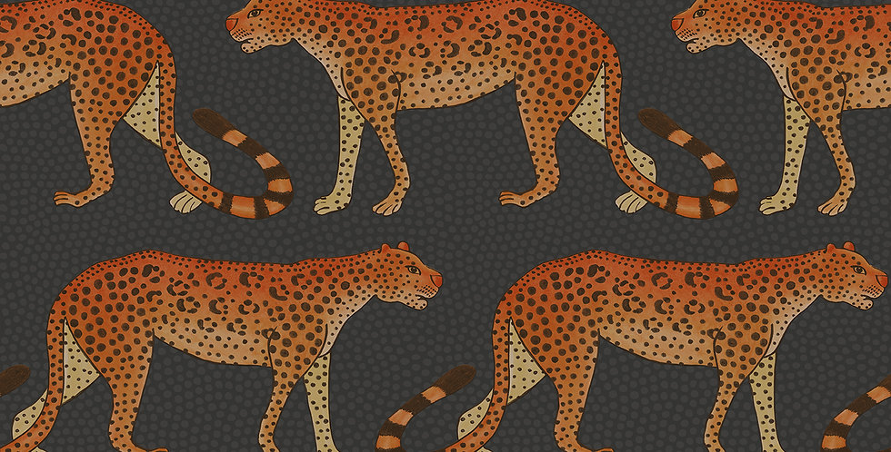 Cole & Son - Ardmore Leopard Walk Charcoal Orange 109/2008