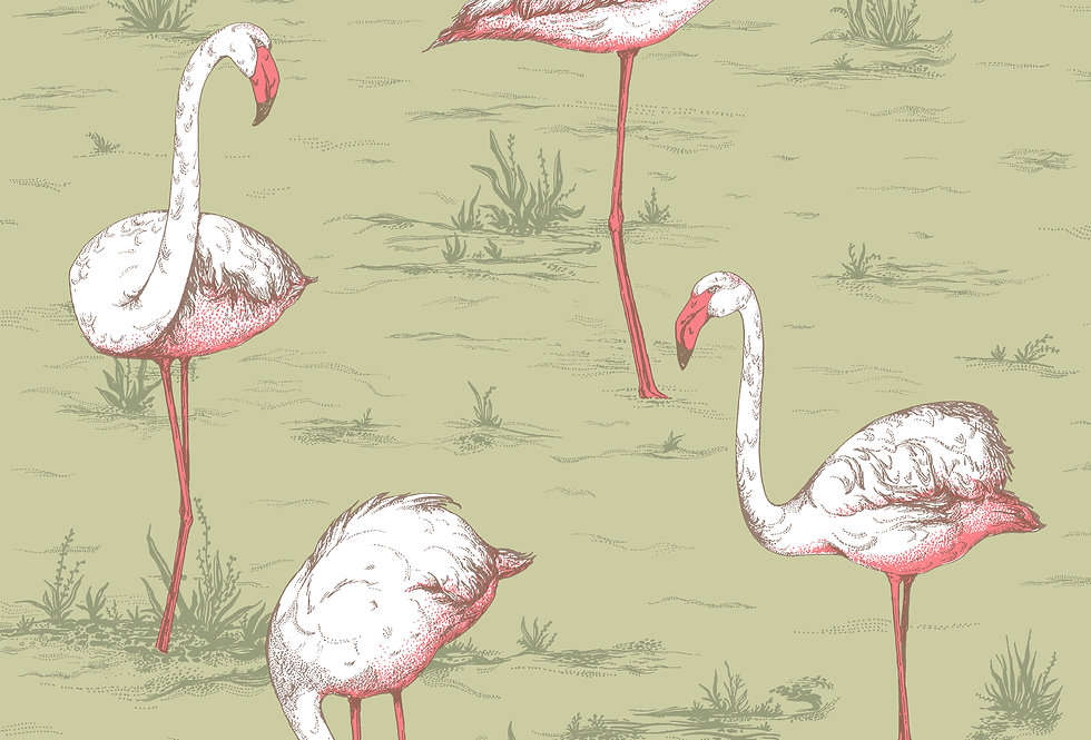 Cole & Son - Icons Flamingos Olive 112/11038