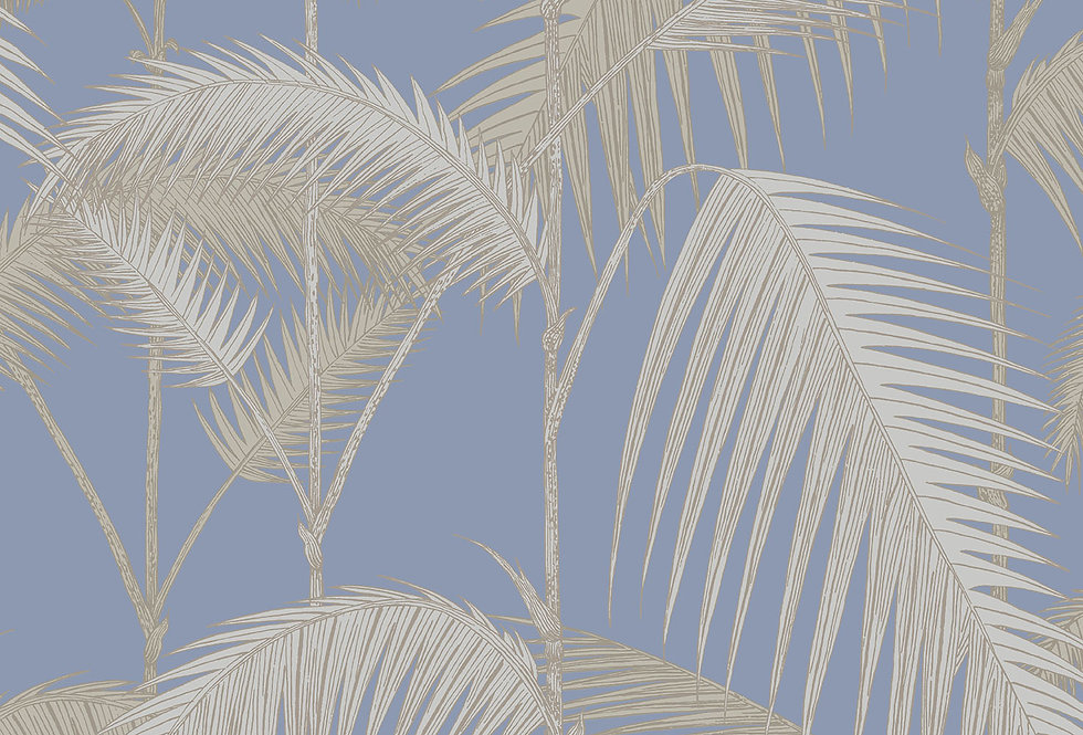 Cole & Son - Contemporary Restyled Palm Jungle Straw & Blue 95/1006