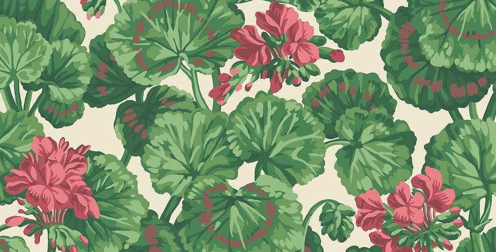 Cole & Son - Seville Geranium Rose & Forest Greens on Parchment  117/11034