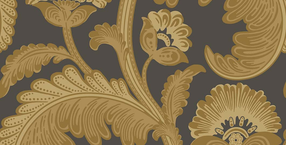Cole & Son - The P/wood Coll Fanfare Flock Ochre on Charcoal 116/7027