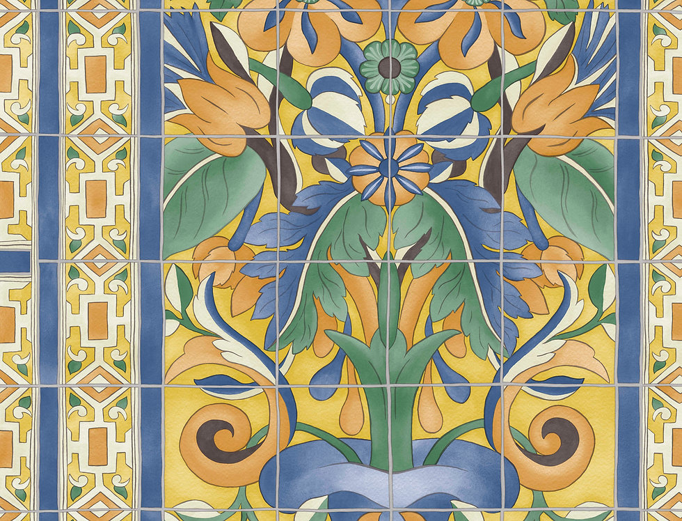 Cole & Son - Seville Triana Marigold & Hyacinth on Canary Yellow 117/5015