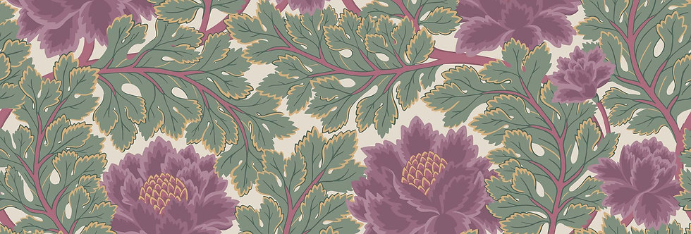 Cole & Son - The P/wood Coll Aurora Mulberry & Sage on Parchment 116/1001