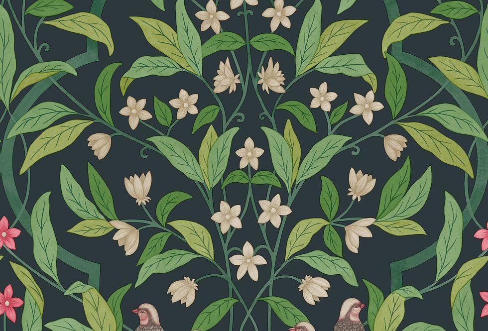 Cole & Son - Seville Jasmine & Serin Symphony Rose & Green on Viridian 117/10028