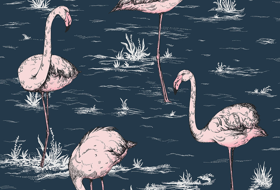 Cole & Son - Icons Flamingos Ink & Alabaster Pink 112/11041