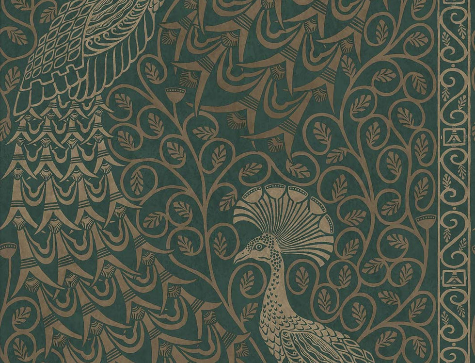 Cole & Son - The P/wood Coll Pavo Parade Metallic Gilver on Green 116/8031