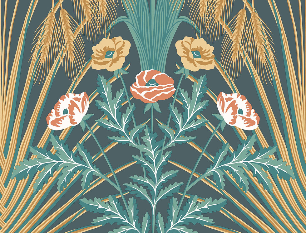 Cole & Son - Botanica Bluebell Teal,  Gold & Coral on Petrol 115/3010