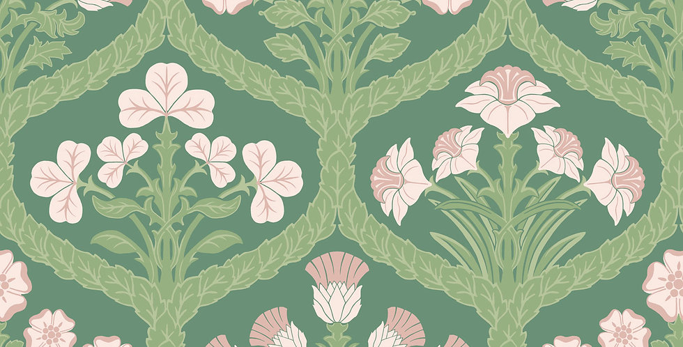 Cole & Son - The P/wood Coll Floral Kingdom Pink, Green, Forest 116/3009