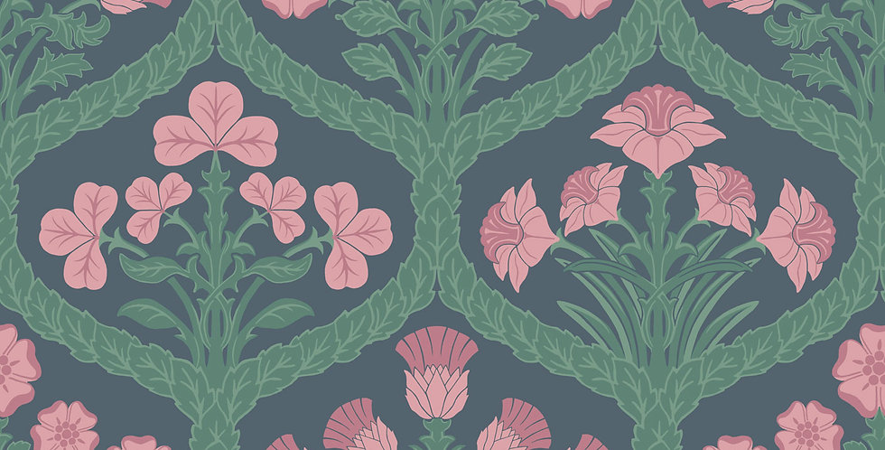 Cole & Son - The P/wood Coll Floral Kingdom Rose & Forest on Charcoal 116/3010