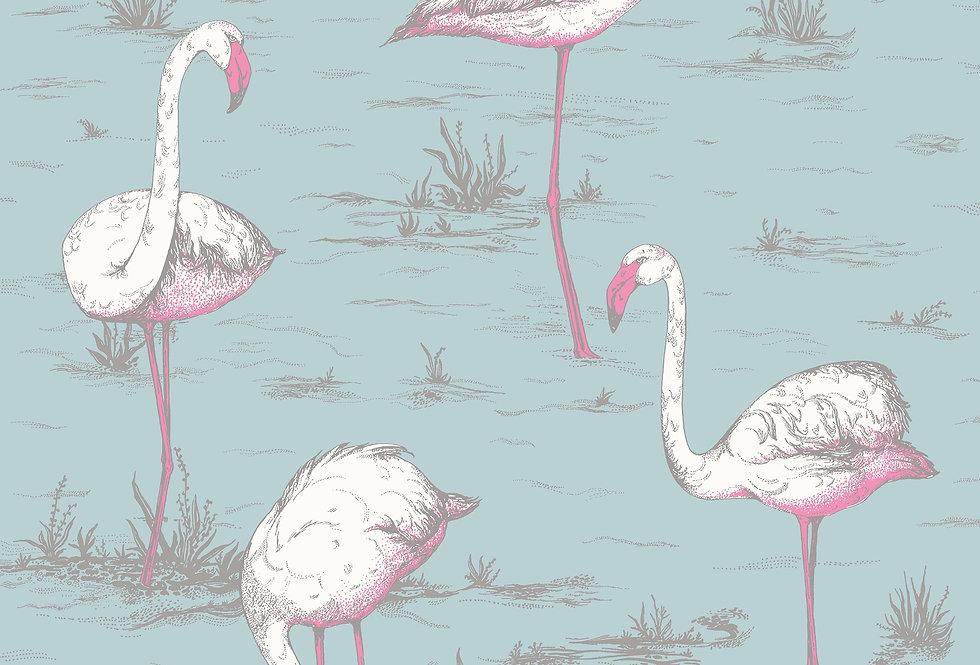 Cole & Son - The Contemp Coll Flamingos White & Fuchsia on Sea Foam 66/6044