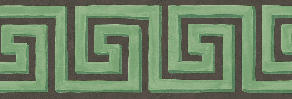 Cole & Son - HRP Queens Key Border Black & Emerald 98/9044