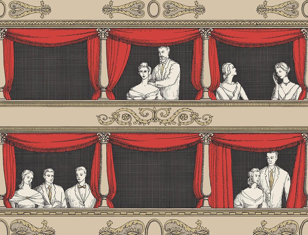 Cole & Son - Fornasetti Senza Tempo Teatro Linen & Rouge 114/18037
