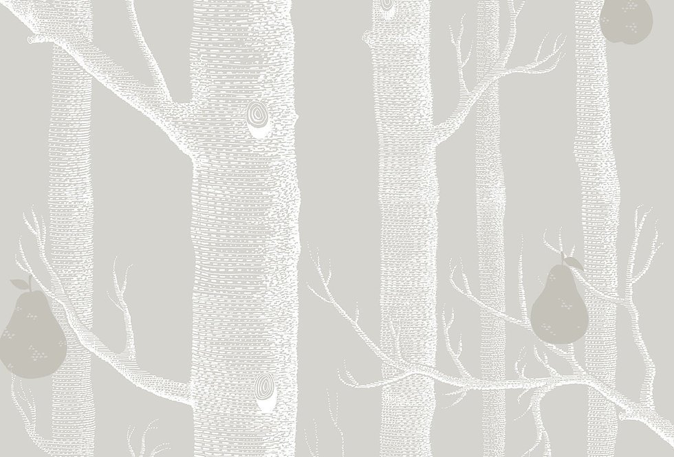 Cole & Son - Contemporary Restyled Woods & Pears Grey, White & Silver 95/5029