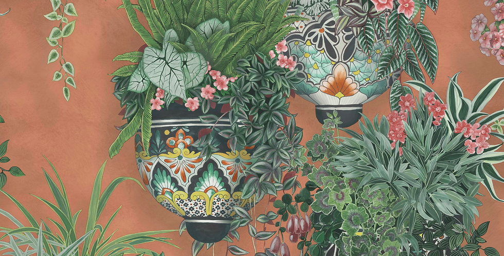 Cole & Son - Seville Talavera Rose & Spring Greens on Terracotta 117/9025