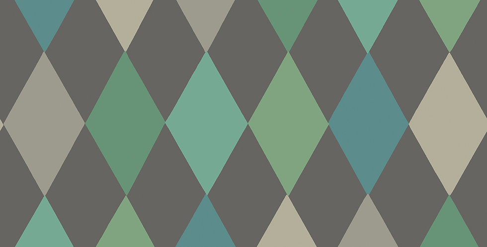 Cole & Son - Whimsical Punchinello Teal on Charcoal 103/2007