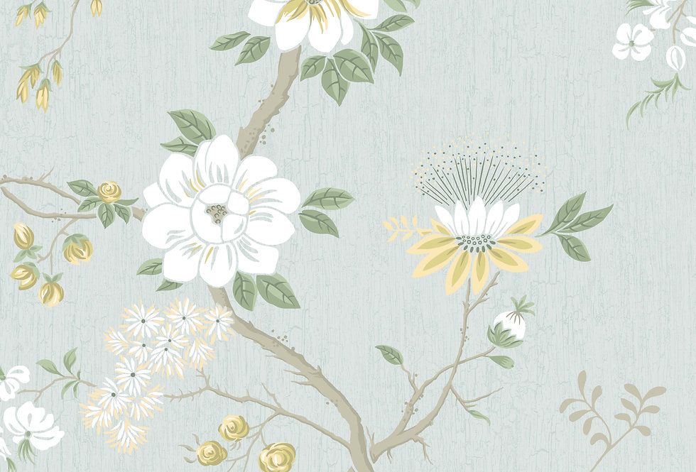Cole & Son - Botanica Camellia Lemon & Sage on Print Room Blue 115/8025