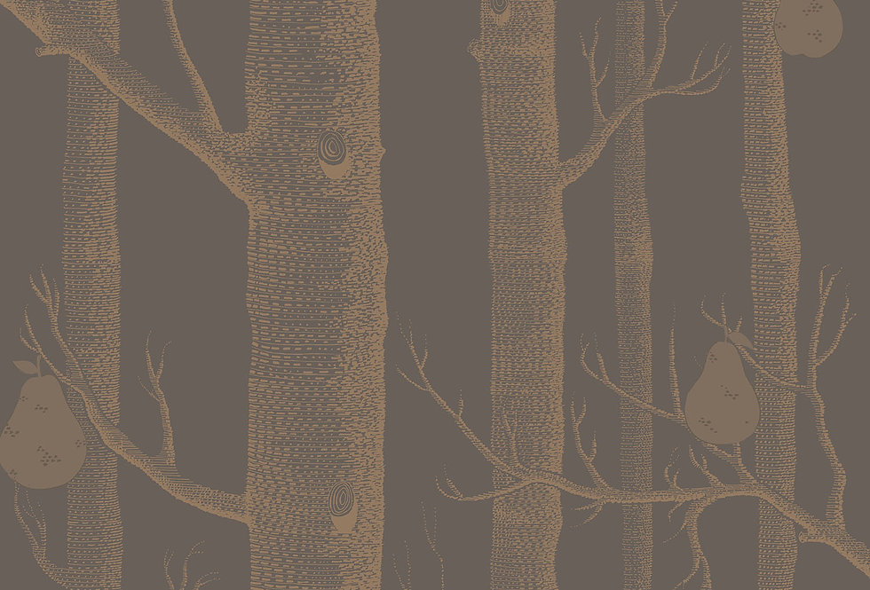 Cole & Son - Contemporary Restyled Woods & Pears Bronze on Black 95/5028