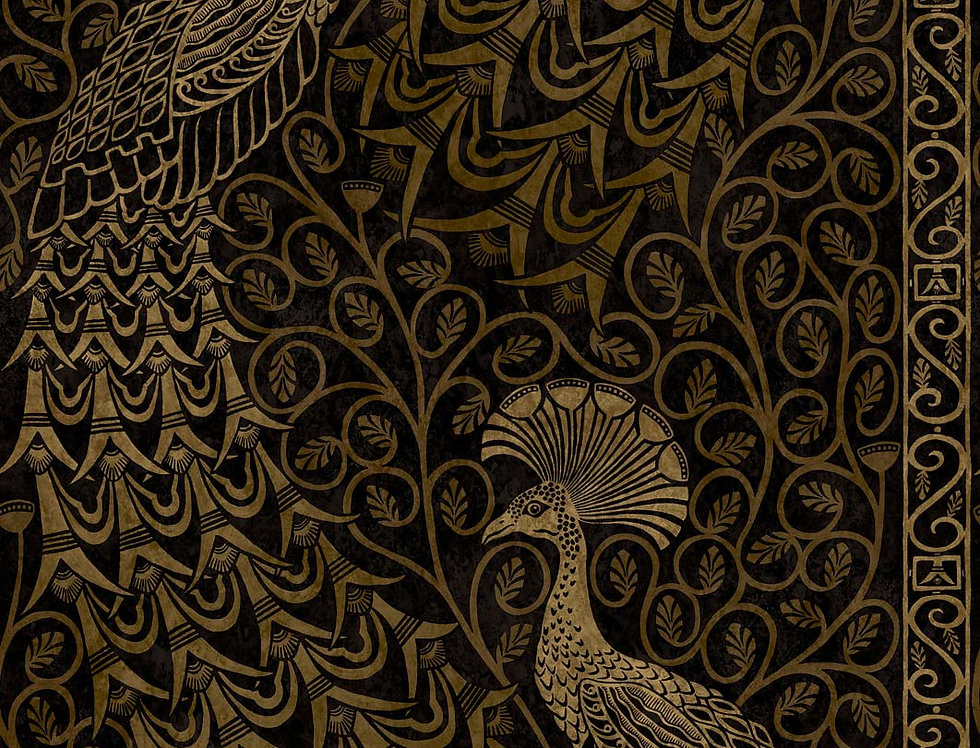 Cole & Son - The P/wood Coll Pavo Parade Metallic Gold on Soot 116/8032