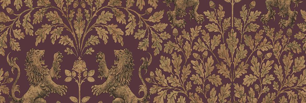 Cole & Son - The P/wood Coll Boscobel Oak Metallic Gold on Claret 116/10038