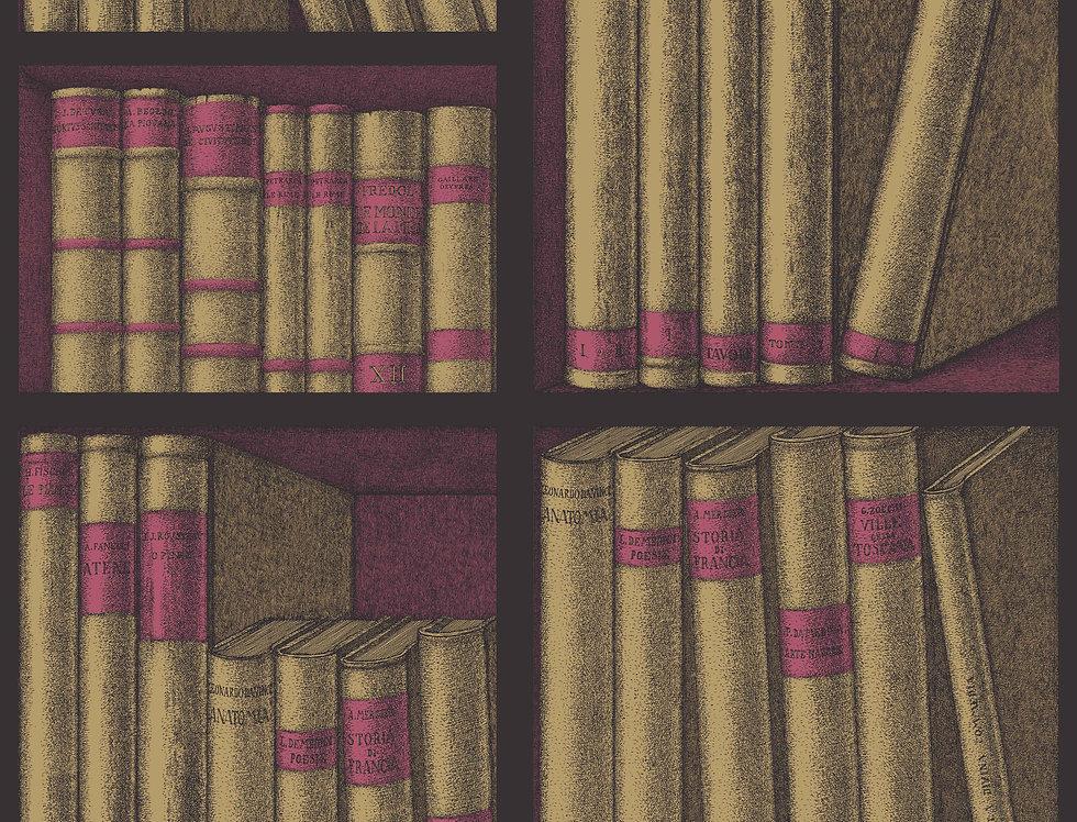 Cole & Son - Fornasetti Senza Tempo Ex Libris Gold & Magenta 114/15031