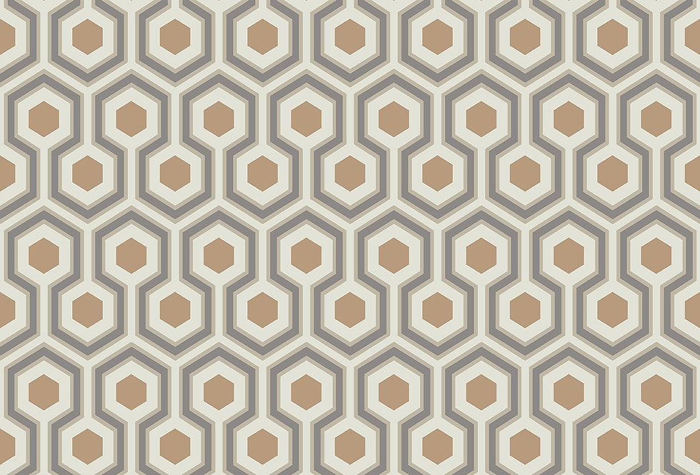 Cole & Son - Contemporary Restyled Hicks' Hexagon Gold & Taupe 95/3017