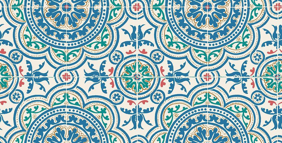 Cole & Son - Seville Piccadilly Denim & Rouge on Chalk 117/8024