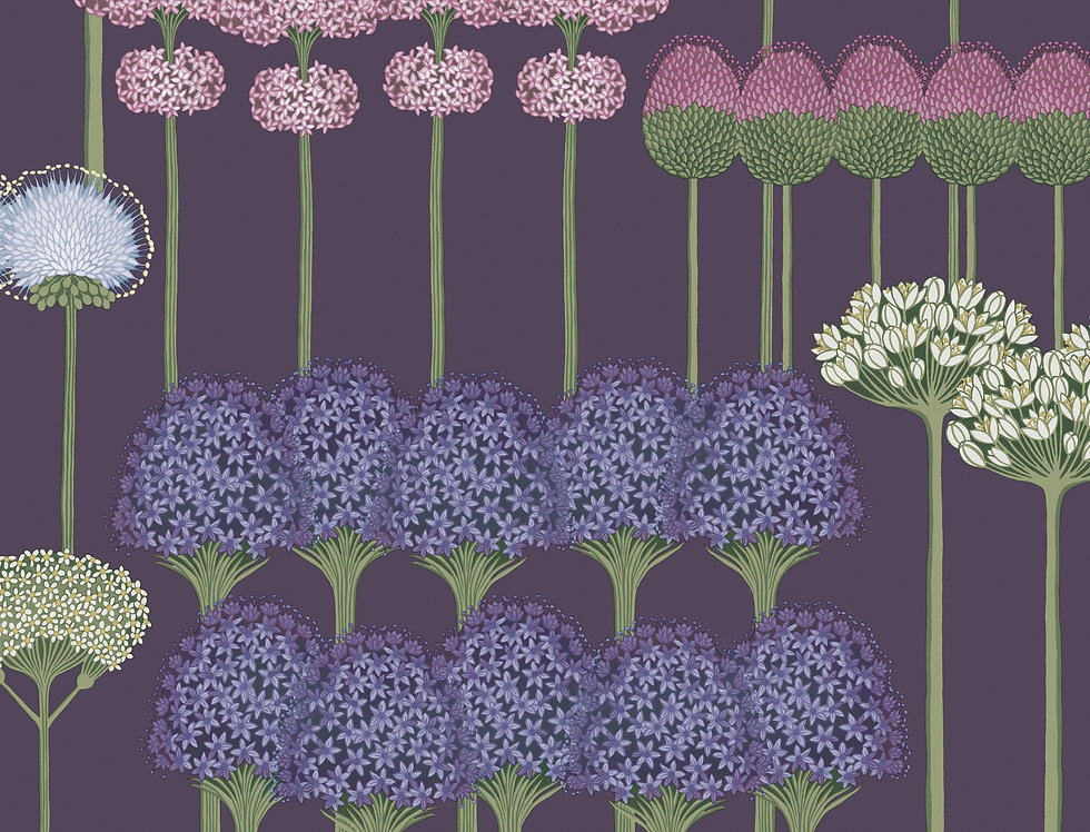 Cole & Son - Botanica Allium Mulberry & Heather on Violet 115/12036
