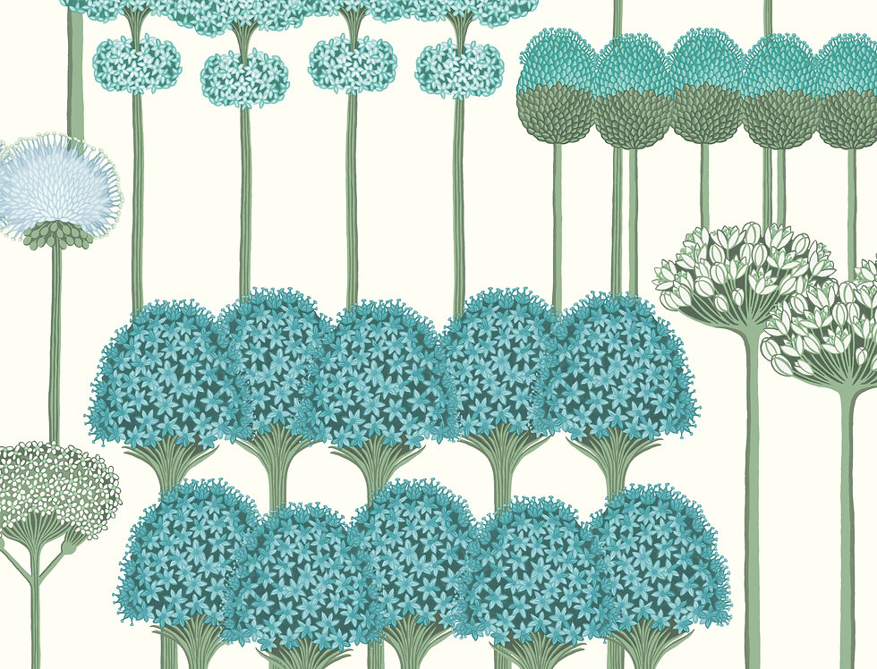 Cole & Son - Botanica Allium Teal & Jade on White 115/12035