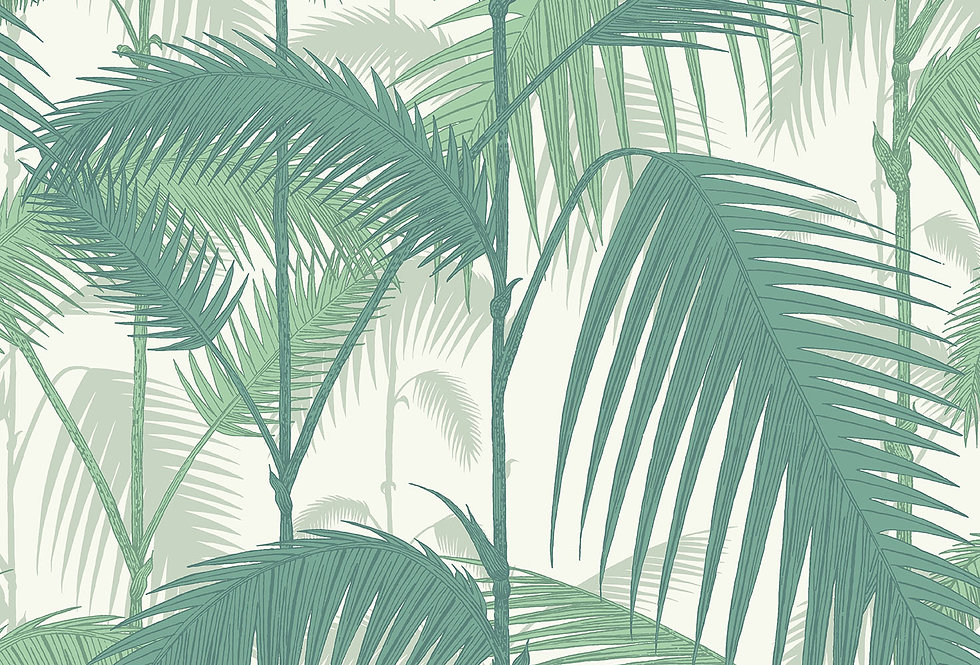 Cole & Son - Contemporary Restyled Palm Jungle Green on White 95/1002