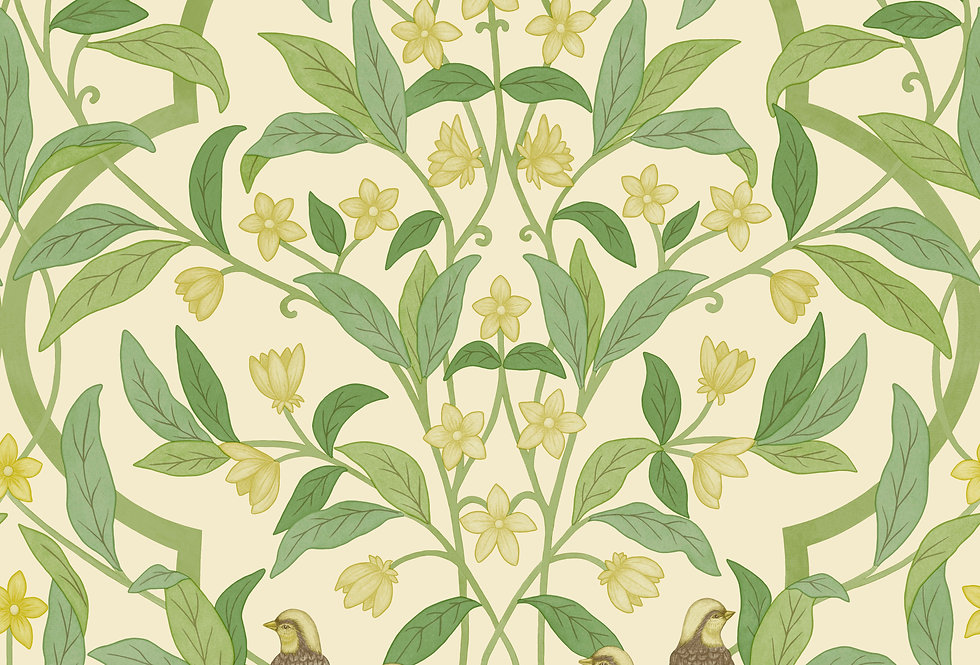 Cole & Son - Seville Jasmine & Serin Symphony Chartreuse, Green, White 117/10031