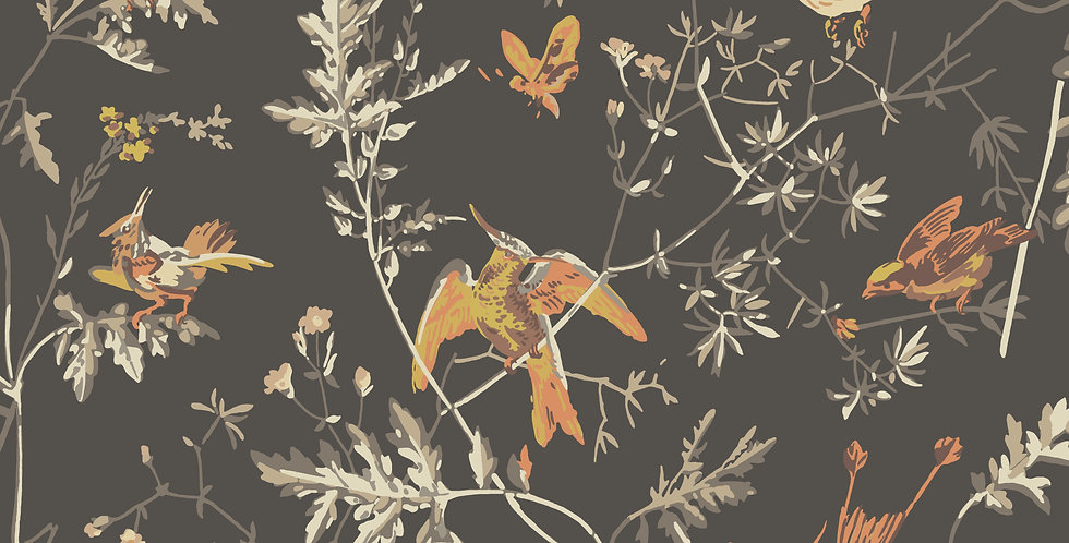 Cole & Son - Icons Hummingbirds Charcoal & Ginger 112/4017