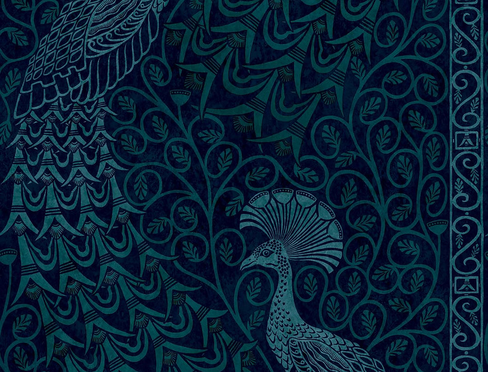 Cole & Son - The P/wood Coll Pavo Parade Metallic Petrol on Ink 116/8028