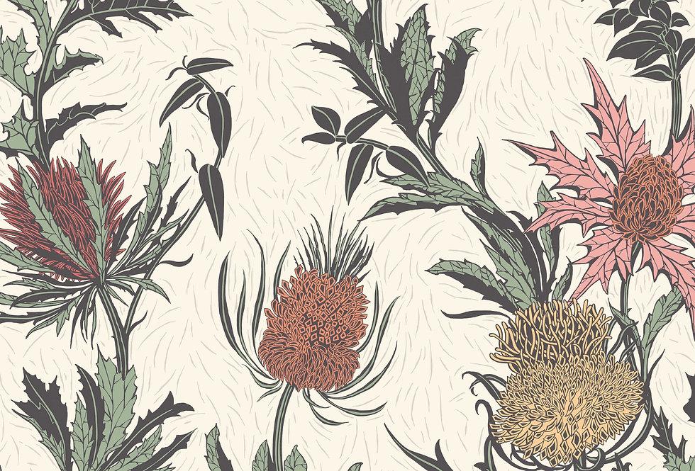 Cole & Son - Botanica Thistle Alabaster Pink & Orange on Parchment 115/14043