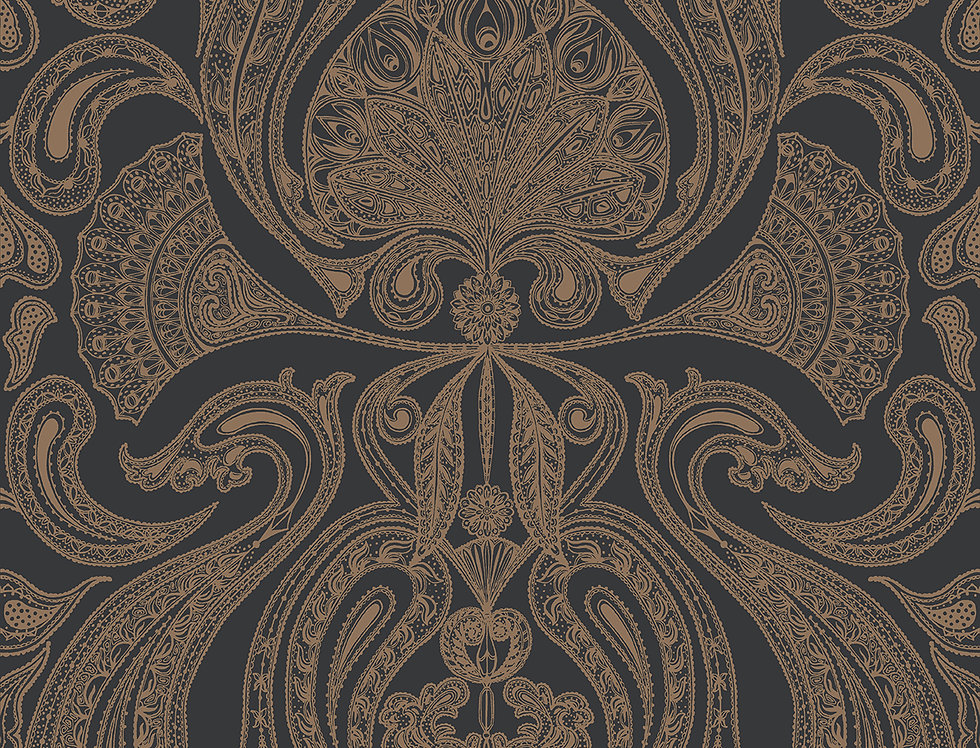 Cole & Son - Contemporary Restyled Malabar Bronze on Black 95/7044