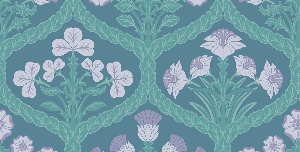 Cole & Son - The P/wood Coll Floral Kingdom Lilac & Teal on Denim 116/3011