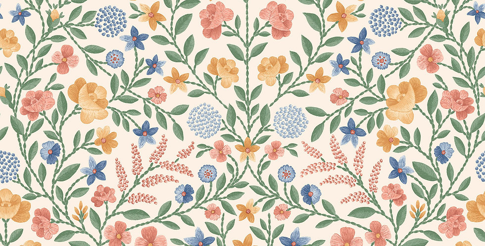 Cole & Son - HRP GM Coral, Marigold, Hyacinth on Parchment 118/13029