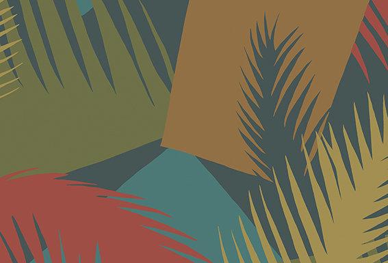 Cole & Son - Geometric II Deco Palm Red & Blue 105/8039