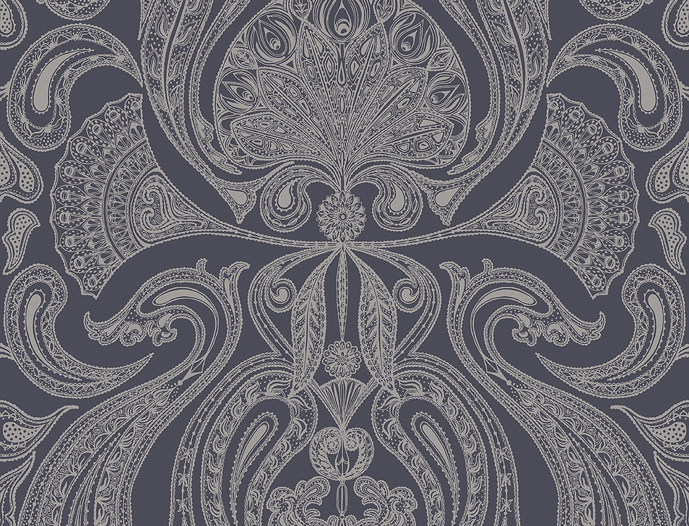 Cole & Son - Contemporary Restyled Malabar Gilver on Charcoal 95/7043