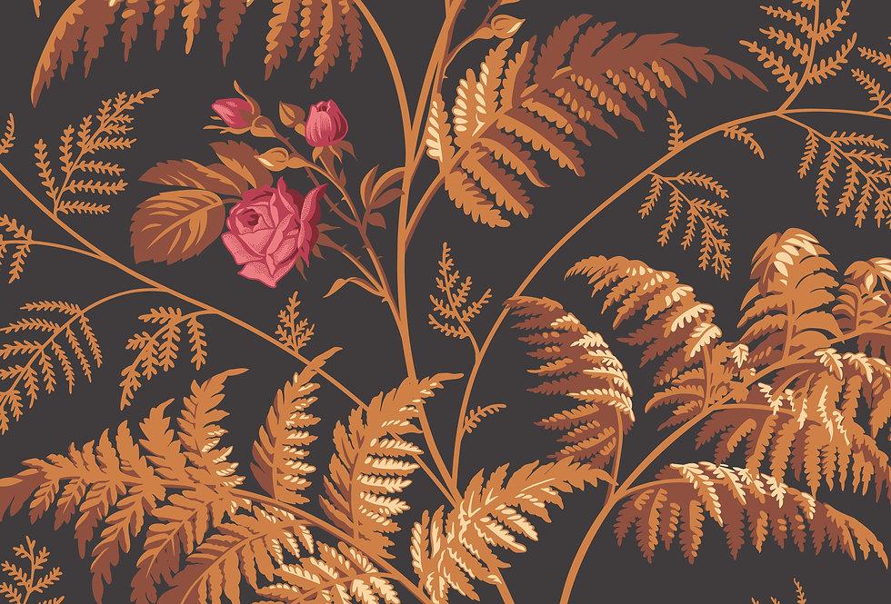 Cole & Son - Botanica Rose Cerise & Burnt Orange on Black 115/10029