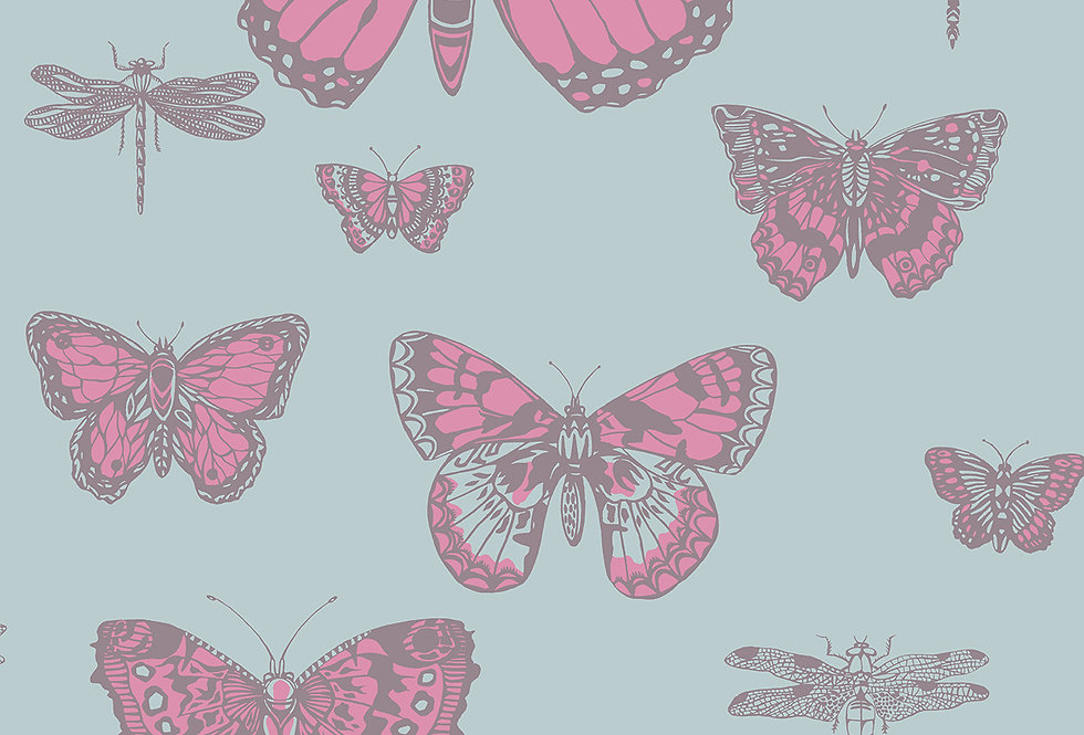 Cole & Son - Whimsical Butterflies & Dragonflies Pink on Blue 103/15062