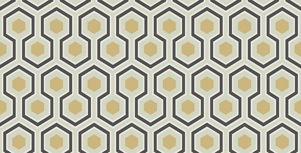 Cole & Son - The Contemp Coll Hicks' Hexagon Black & Gold on Soft Olive 66/8056