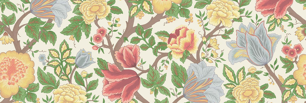 Cole & Son - The P/wood Coll Midsummer Bloom Green, Rouge, Parchment 116/4013