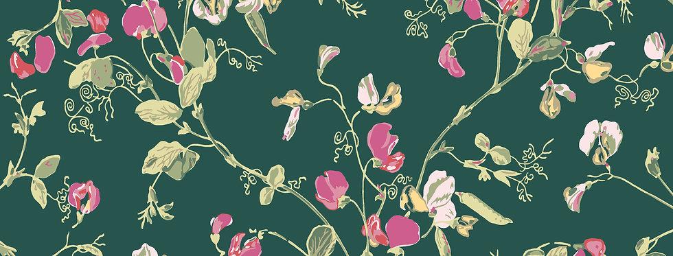 Cole & Son - Botanica Sweet Pea Cerise & Magenta on Viridian 115/11033