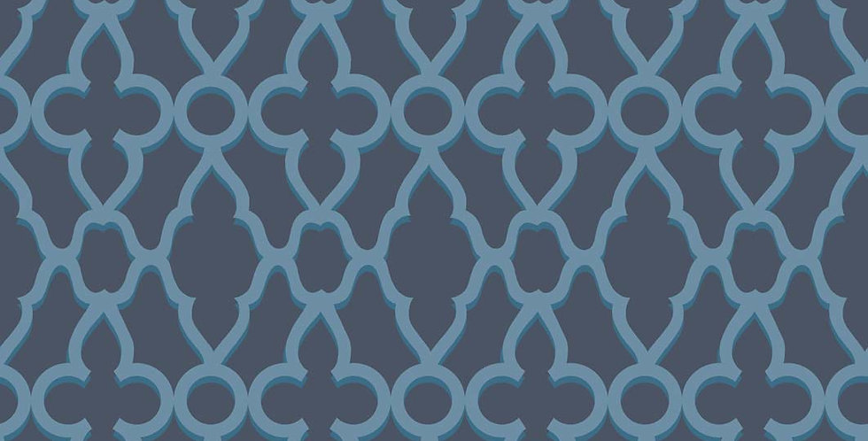 Cole & Son - The P/wood Coll Treillage Cerulean Blue on Midnight 116/6024