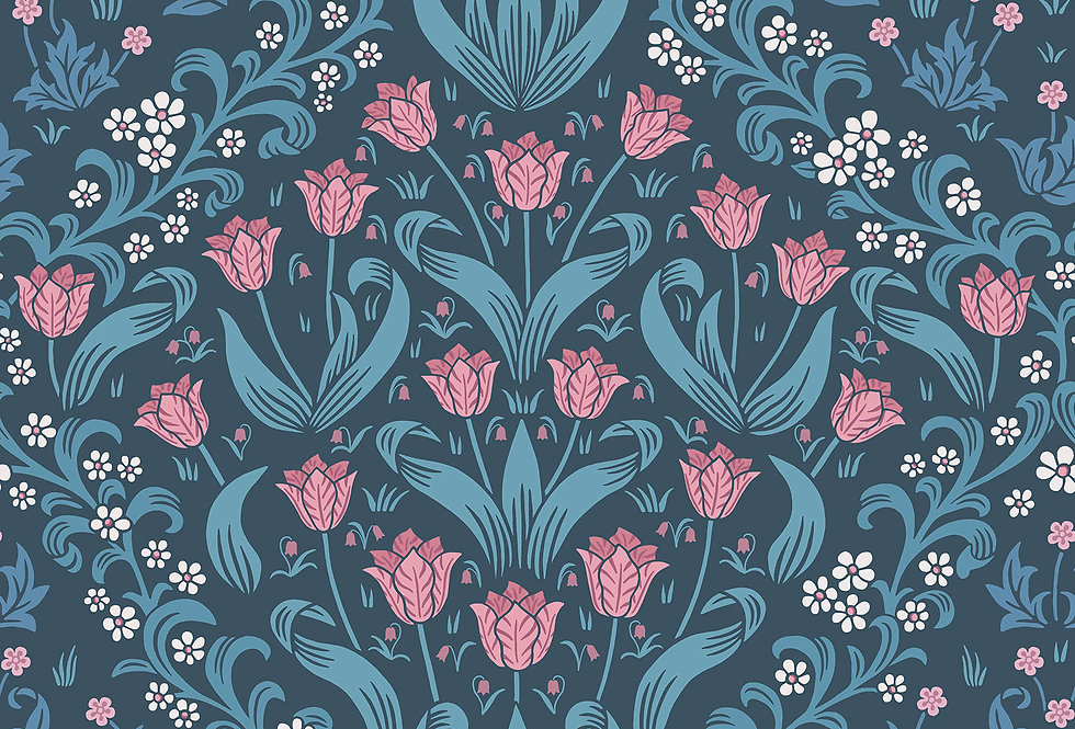 Cole & Son - HRP GM Fuchsia & Cerulean Blue on Midnight 118/2004