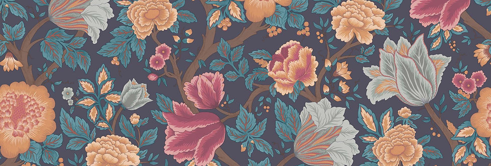 Cole & Son - The P/wood Coll Midsummer Bloom Orange, Rose, Petrol, Ink 116/4014
